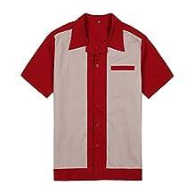 Candow Look Mens American 50s Shirt Short Sleeve Hip Hop Cowboy Retro Casual Clothing