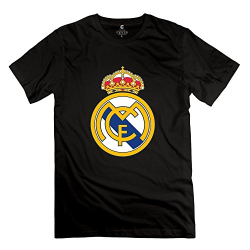 Red Stitch Logo Shirt (Men Real Madrid Logo Design Cool Black T Shirt By Mjensen)
