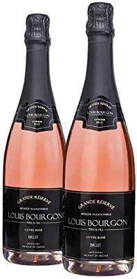 Pack 2 botellas Louis Bourgon Grande Réserve Brut Cuvée Rosé - Vino Espumoso Francés, Borgoña- 11, 5%, 750 ML. Burbuja fina y persistente. Suave, fresco y equilibrado, con notas de frambuesa y fresa.