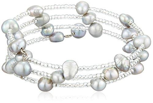 Bella Pearl Gray Pearl Triple Row Bead Bangle Bracelet