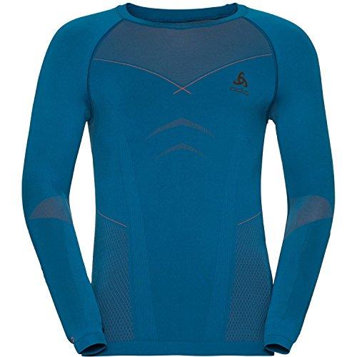 Odlo 2018 Mens Evolution Warm Baselayer Seamless Stretch Sports Fitness Top Mykonos Blue/Orangeade - Mykonos Store
