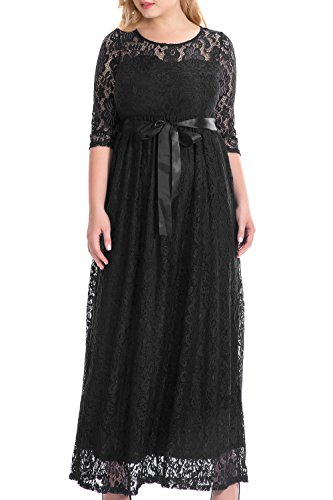 Nemidor Women's Empire Half Sleeves Floral Lace Plus Size Evening Party Maxi Dress (18W, Black) (Venus Special Dress Occasion)