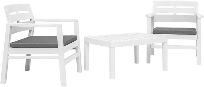 Festnight Conjunto de Mesa y Sillas Plástico de Jardín Muebles de Comedor Balcón Terraza Blanco: Amazon.es: Hogar