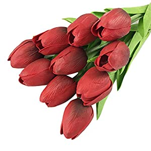 20Pcs Artificial Fake Flowers Tulip Floral Real Touch Looking Latex Material for Party Wedding Bouquet Decor, Bride Holding Flowers,Garden Craft Art ,Office Centerpiece Home Decor(Vase not Included) 110