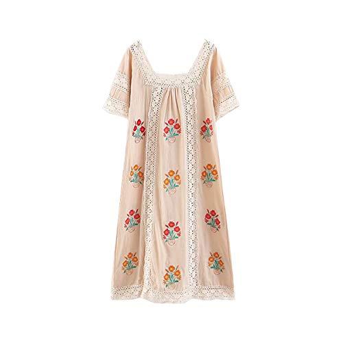 R.Vivimos Women Short Sleeve Summer Floral Embroidery Lace Hollow Out Bohemian Cotton Linen Midi Dresses (Large, Beige)