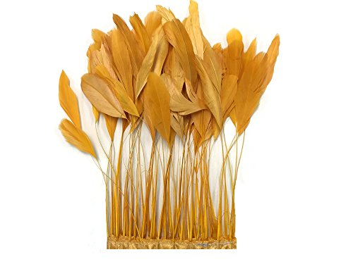Moonlight Feather |1 Yard - Golden Yellow Stripped Coque Tail Wholesale Feather Trim (bulk) Rooster Tail Eyelash Trim Feathers Millinery, Hats, Jewelry and Craft Feathers -