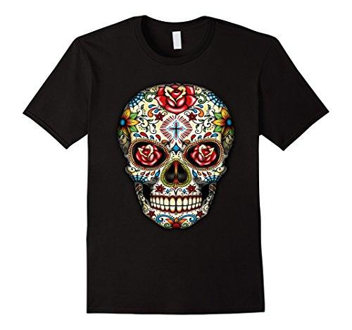 Mens Sugar skull shirt Day of Dead shirt Dia de los Muertos shirt 3XL (Dia De Los Muertos Men)