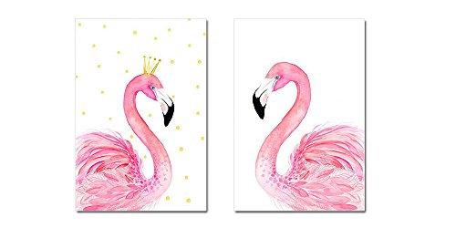 Purple Verbena Art 2 Panels Couple Flamingos Picture Photo Prints on Canvas Walls Artwork, Modern Giclee Wall Paintings for Kid's Room Home Office Decoration, Stretched and Framed, Per Piece 16''x24'' (Art Canvas Print Deco)