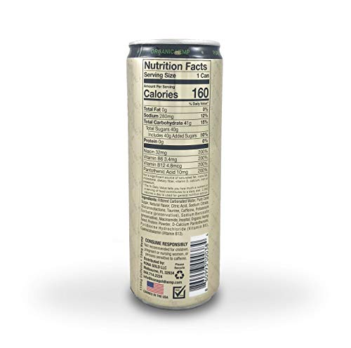 41sKt%2B7gkuL - Kona Gold Platinum Hemp Energy Drink 12.0 Fluid Ounces, Pure Sugar Cane, Organic Hemp, 12 Pack