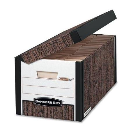 Bankers Box Systematic – Letter, Woodgrain – Taa Compliant – Stackable – Medium Duty – 10.4″ Height X 13″ Width X 25.5″ Depth External Dimensions – Black, Wood Grain – File (FEL00051)