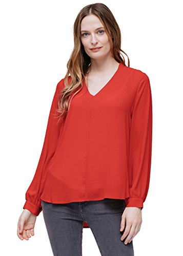 Sleeve Opaque Long - Pleione Womens V-Neck Printed Chiffon Opaque Blouse in Long Sleeve RED XS
