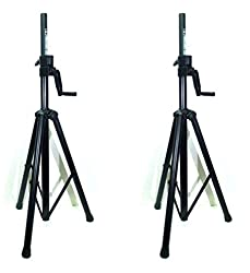 New Two (2) LASE 201C Crank-up Speaker Stand with Folding Hand Crank. from LASE