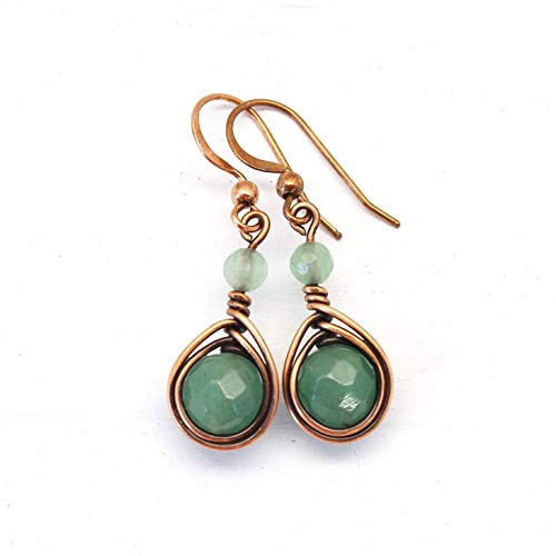 Copper Wire Wrapped Earrings with Green Aventurine Gemstone