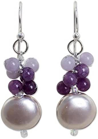 NOVICA Quartz Silver Plated Beaded Hook Earrings 'Moon Reflections'