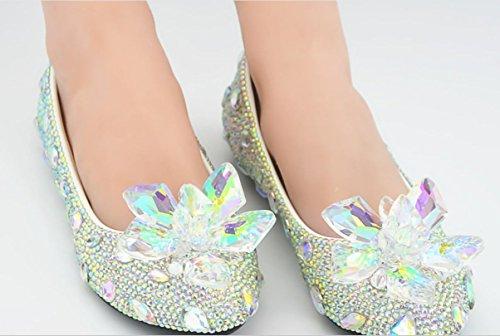 YCMDM piatto singoli pattini banchetti Scarpe testa rotonda donne della bocca superficiale scarpe di cristallo Diamonds , as picture , 38