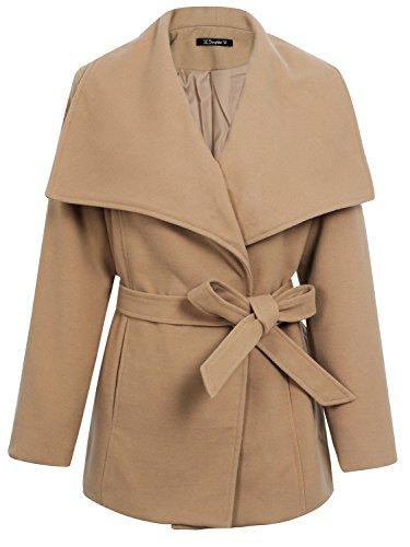 Simplee Women's Wool Blend Turn Down Collar Short Jacket Coat Outwear with Belt, Camel, 8, (Leather Down Jacket)