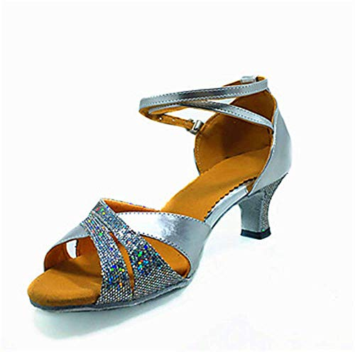 ShangYi adult EU38 ballroom square shoes dance shoes dance women's Latin shoes soft CN38 blue 5 bottom dance dance UK5 rFqRYrZ