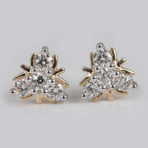 Valentine Gifts Natural 0.24 Ct Pave Diamond Designer Flower Delicate Stud Earrings Solid 14k Yellow Gold Daily Wear Fine Jewelry ()