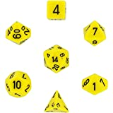 : Chessex Dice: Polyhedral 7-Die Opaque Dice Set - Yellow with Black
