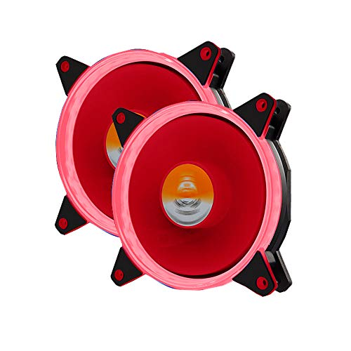 GOLDEN FIELD DW001 120mm Case Fan with Red LED Lighting Cooling Fan for CPU Cooler (2 Pack Red)