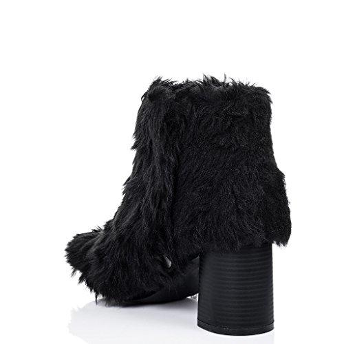SPYLOVEBUY DRAGOON Mujer Piel Sintética Tacón Bloque Botes Bajas Zapatos Negro