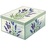 Kanguru Collection Fragrant Lavender Decorative Storage Box with Handles and Lid, 42 x 32 x 10 cm, Multi-Colour