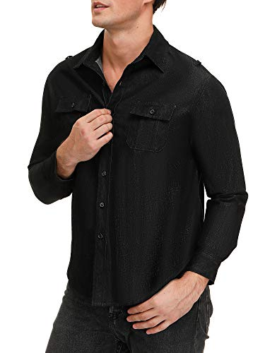 SATINIOR Men\'s Long Sleeve Button Down Shirts Woven Casual Dress Shirt Work Shirts (Black, 40/M)