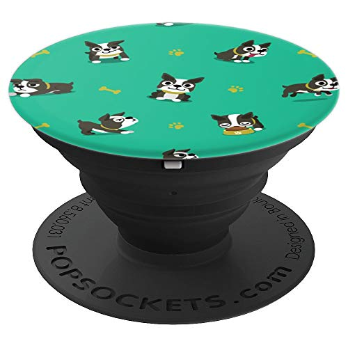Cute Boston Terrier Dog Pattern Gift for Dog Puppy Owners - PopSockets Grip and Stand for Phones and Tablets