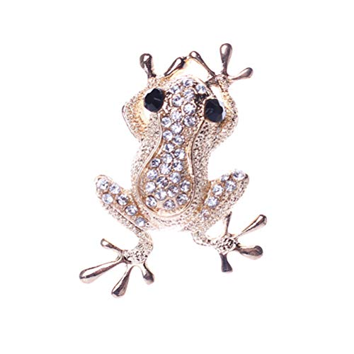 TENDYCOCO Brooch Pin Cute Frog Rhinestone Crystal Diamond Clothes brooches Jewelry Gift for Women Girls (Silver) ()