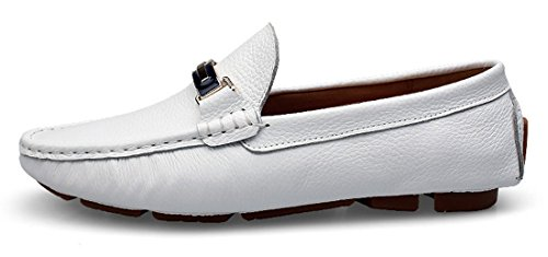 Tda Hombres Hot RecomHombresd Punta Redonda Classic Leather Driving Boat Zapatos Blanco
