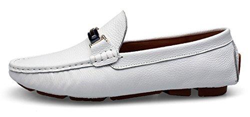 Tda Heren Warm Aanbevolen Ronde Neus Klassiek Leer Drijvende Bootschoenen Wit