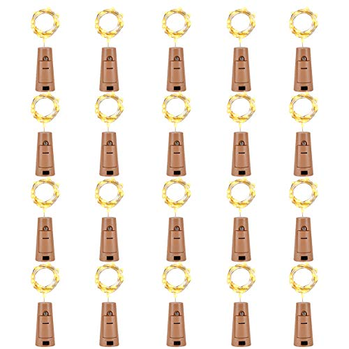 LEDIKON 20 Pack 20 Led Wine Bottle Lights with Cork,3.3Ft Silver Wire Warm White Cork Lights Battery Operated Fairy Mini String Lights for Wedding Party Wine Liquor Bottles Bar Decor