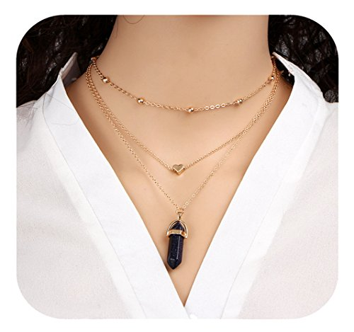 Multilayer Pendant Triple Chain Necklace Long Natural Stone With Heart Necklaces For Women (Black)