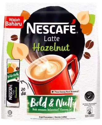 Malaysia Best Brand Nestle NESCAFE Premix Latte Hazelnut/Smooth Creamy Aromatic Nutty Flavor (20 sticks x - Flavor Packets Nestle