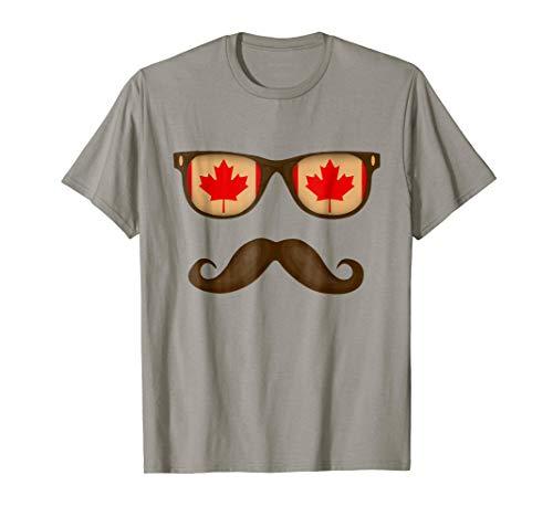 Sunglasses Moustaches Canadian Flag T-shirt Canada ()