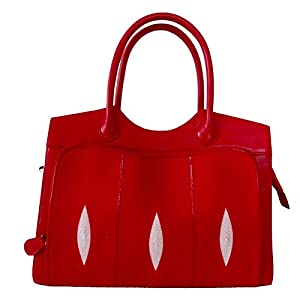 Authentic Red Genuine Stingray Skin with 6 White Pearl Eyes Shoulder Bag