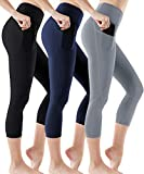 ATHLIO High Waist Yoga Pants with Pockets, Tummy Control Workout Leggings, Non See-Through Running Tights, Capri1 Pocket 3pack (ycp36) - Black/Navy/Stone, X-Small