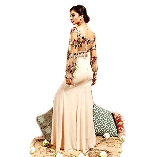 Crazy4bling Soieblu, Manches Longues Brodé Corsage Floral Large Robe Maxi Du Cou W / M-fente, Large