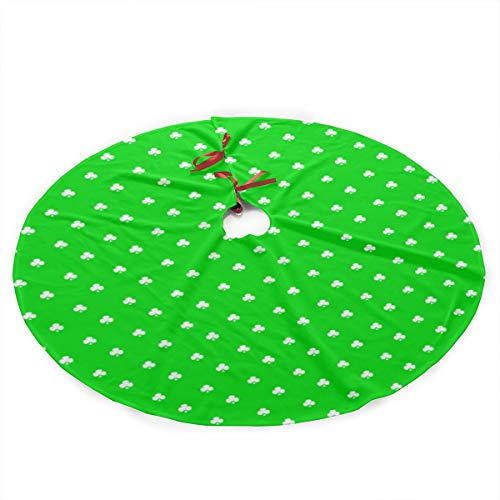(G-Fulling Clover Christmas Tree Skirt Ornament Print Christmas Tree Mat Party Holiday Decorations)