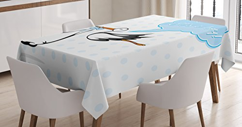 Baby Shower Decor Tablecloth by Ambesonne, Stork Delivering a Cute Baby Boy Congratulations Birthday Ahoy Party Print Decorations, Dining Room Kitchen Rectangular Table Cover, 60 X 90 (Stork Baby Shower Decorations)