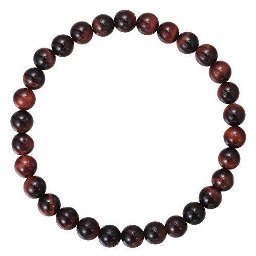 BRCbeads Gemstone Bracelets Natural Red Tiger Eye Genuine Gemstones Birthstone Handmade Healing Power Crystal Beads Elastic Stretch 6mm 7.5 Inch with Gift Box Unisex (Eyes Gem Red)