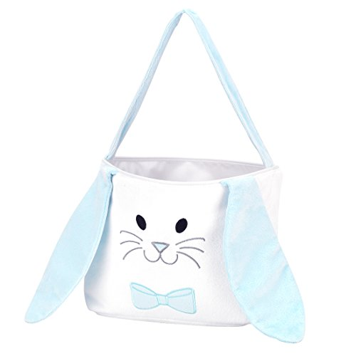 Hippity Hop Floppy Ear Easter Bunny Basket Bucket Bag - Personalization Available (Blue) ()