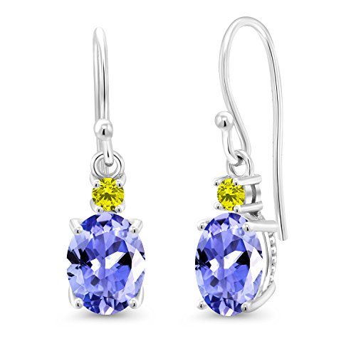 (Gem Stone King 2.45 Ct Oval Blue Tanzanite Canary Diamond 10K White Gold Earrings)