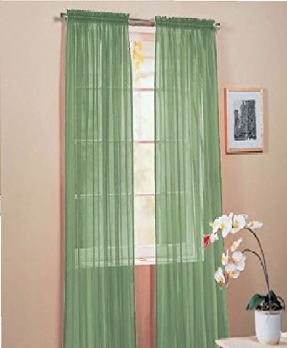 WPM 2 Piece Beautiful Sheer Window Elegance Curtains Drape Panels Treatment 60quot