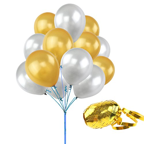 UTOPP 100 Pcs Gold & Silver Theme Party decorations Balloons 12 Inches Thick Latex Helium Balloons 9.88 Oz/bag for Christmas Carnival Festival Birthday Party with 10M Curling Ribbon party supplies Curling Ribbon Party Decorations