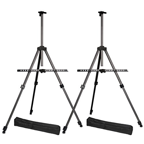 "Transon Tripod Aluminum Table Top and Floor Easel Stand 65"" Lightweight Adjustable 2-Pack with Portable Bag (Black)"