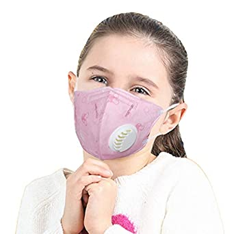 Children Breathing Pm N95 pack Mask 1 Anti-pollution 5 Face Of Activated Valve 2 pink With Child Carbon Kids Vritraz