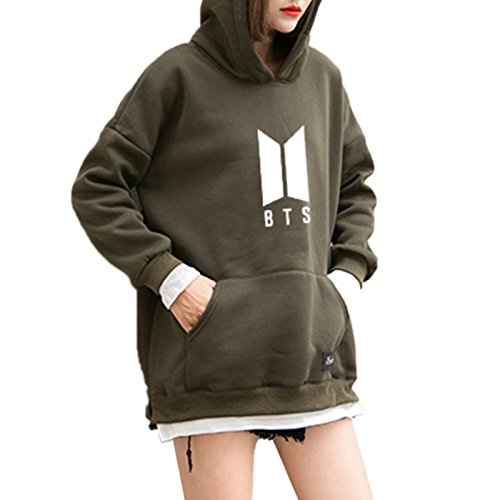 Lamdoo Sudadera con capucha y bolsillos de BTS. Talla XL y color verde militar, mezcla de algodó n, Army Green, X-Large mezcla de algodón