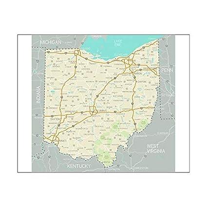 Amazon.com: Media Storehouse 20x16 Print of Ohio Map ...
