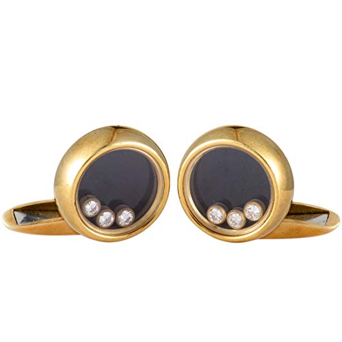 Chopard Happy Diamonds 18K Yellow Gold Diamond and Onyx Round Cufflinks - 18k Diamond Cufflinks